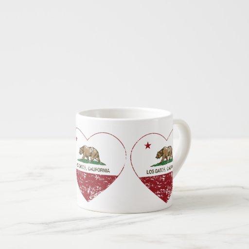 california flag los gatos heart distressed espresso mug
