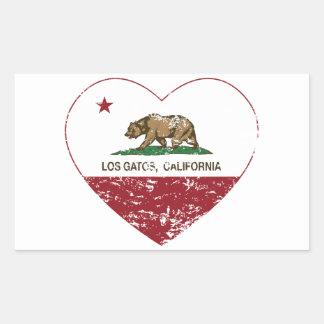 california flag los gatos heart distressed sticker