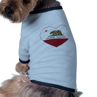 california flag los gatos heart doggie tshirt
