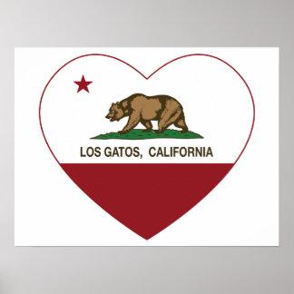 california flag los gatos heart posters