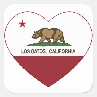 california flag los gatos heart square stickers