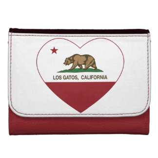 california flag los gatos heart leather wallet for women
