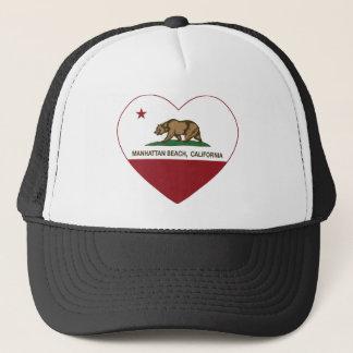 california flag manhattan beach heart trucker hat