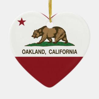 california flag oakland heart ceramic ornament