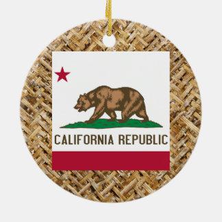 California Flag on Textile themed Ceramic Ornament