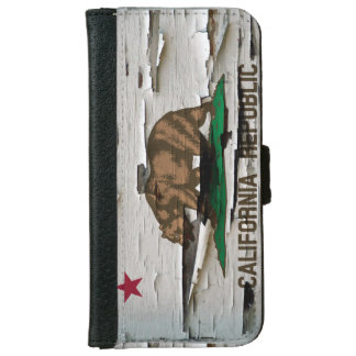 California Flag Paint Peel iPhone 6 Wallet Case