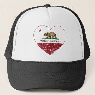 california flag pasadena heart distressed trucker hat