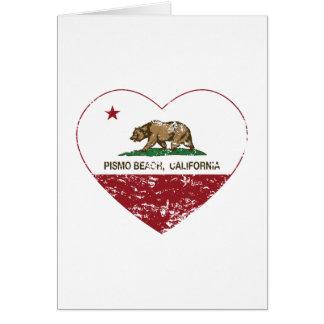 california flag pismo beach heart distressed card