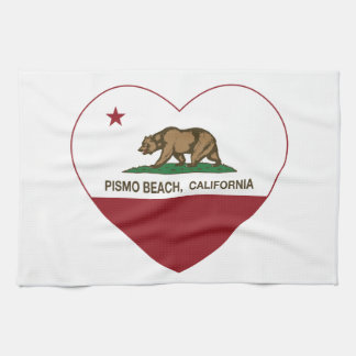 california flag pismo beach heart hand towel