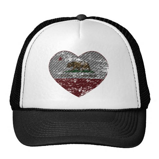 california flag republic carbon fiber heart trucker hat
