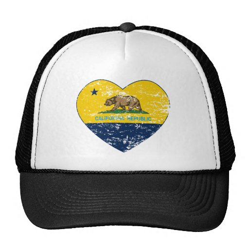 california flag republic dark blue heart mesh hat