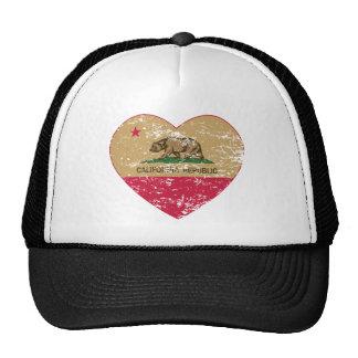 california flag republic gold heart distressed cap