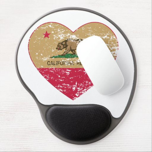 california flag republic gold heart distressed gel mouse pads
