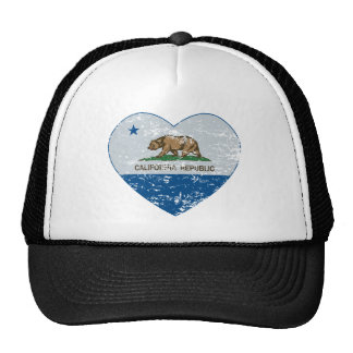 california flag republic heart blue and grey hats