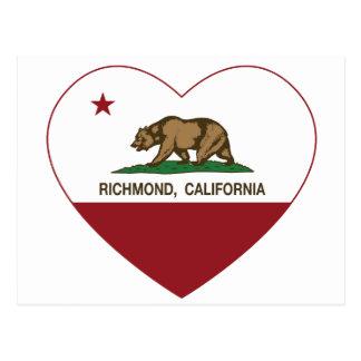 california flag richmond heart postcard