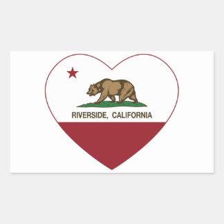california flag riverside heart rectangular sticker