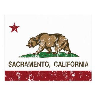 california flag sacramento distressed postcard