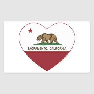 california flag sacramento heart rectangular sticker