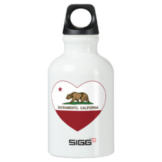 california flag sacramento heart water bottle