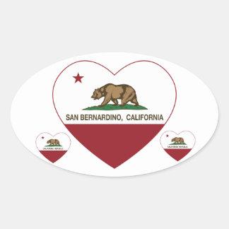 california flag san bernardino heart oval sticker
