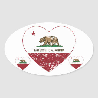 california flag san jose heart distressed oval sticker