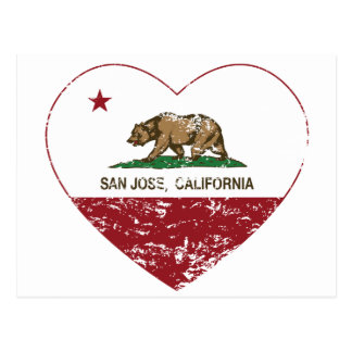 california flag san jose heart distressed postcard