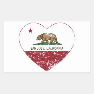 california flag san jose heart distressed rectangular sticker