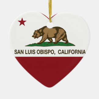 california flag san luis obispo heart ceramic ornament