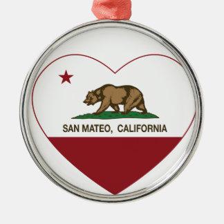 california flag san mateo heart metal ornament