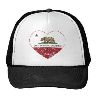 california flag santa barbara heart distressed hat