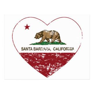 california flag santa barbara heart distressed postcard