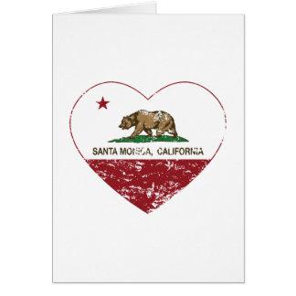 california flag santa monica heart distressed greeting card