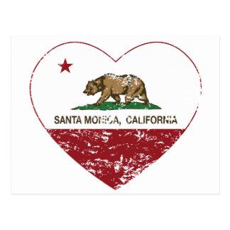 california flag santa monica heart distressed post cards