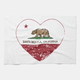 california flag santa monica heart distressed hand towels