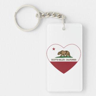 california flag scotts valley heart Double-Sided rectangular acrylic key ring