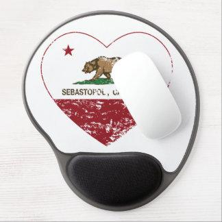 california flag sebastopol heart distressed gel mouse pad