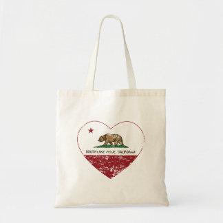 california flag south lake tahoe heart distressed tote bag