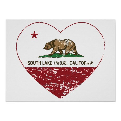 california flag south lake tahoe heart distressed print