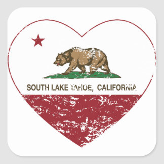 california flag south lake tahoe heart distressed square sticker