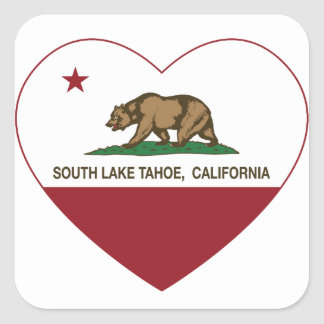 california flag south lake tahoe heart square sticker