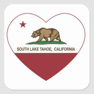 california flag south lake tahoe heart square sticker