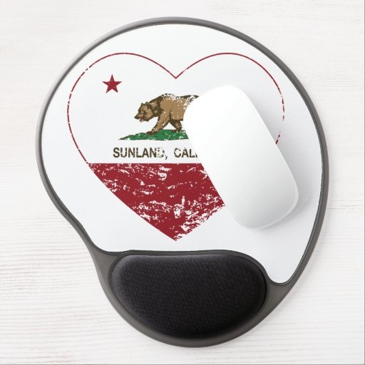 california flag sunland heart distressed gel mouse pad
