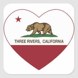 california flag three rivers heart square sticker