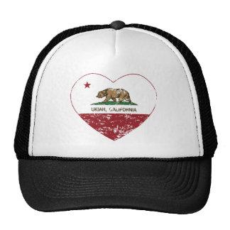 california flag ukiah heart distressed cap
