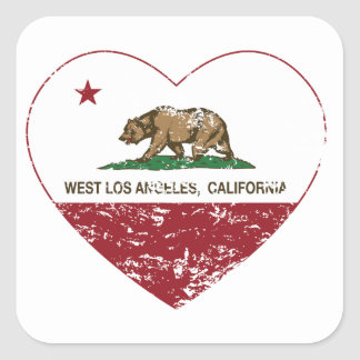 california flag west los angeles heart distressed square sticker