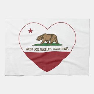 california flag west los angeles heart hand towel