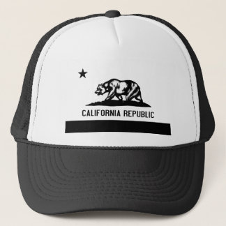 California Flag with Bear in Black Trucker Hat