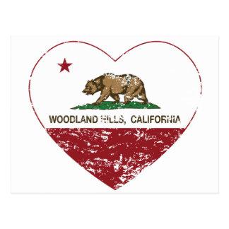 california flag woodland hills heart distressed postcard