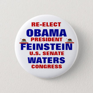 California for Obama Feinstein Waters 6 Cm Round Badge
