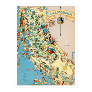 California Funny Vintage Map Postcard